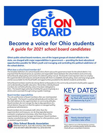 2021 OSBA Get On Board Ohio board candidate brochure